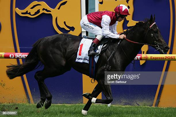 Jockey Kerrin McEvoy riding Denman crosses the line to win the Wellington Racing Club Stakes during the CF Orr Stakes Day meeting at Caulfield...