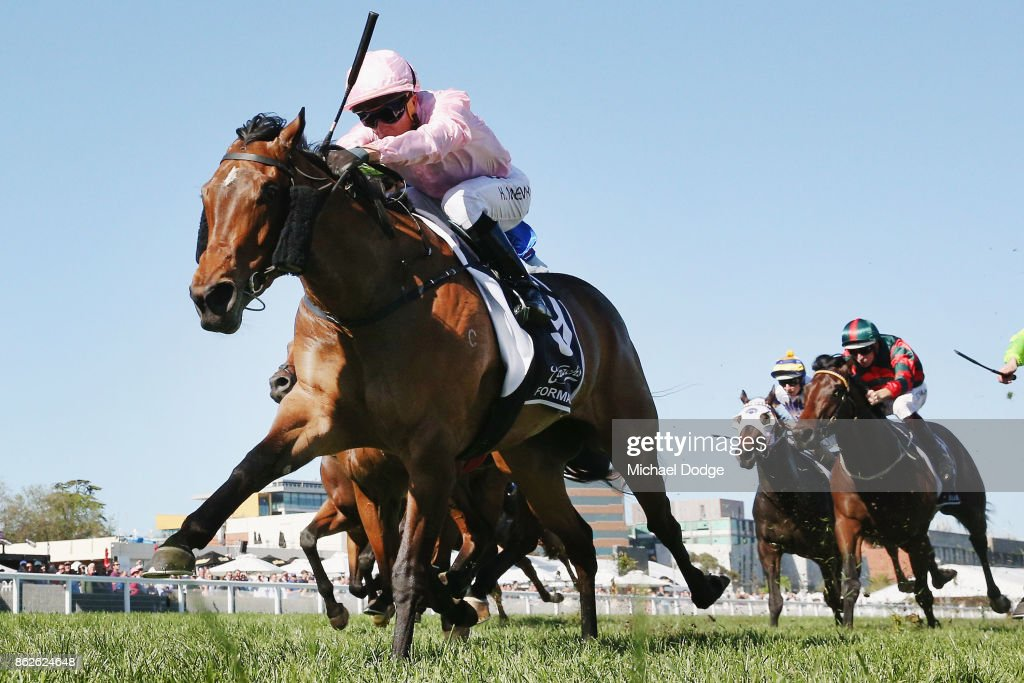 Jockey Kerrin McEvoy riding Formality wins race 6 the Blue Sapphire Stakes during Melbourne Racing at on October 18, 2017 in Melbourne, Australia.