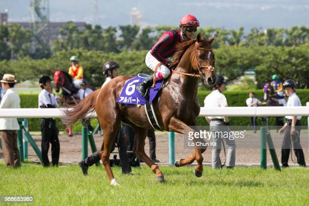 Jockey Kota Fujioka riding Albert during the Takarazuka Kinen at Hanshin Racecourse on June 24 2018 in Takarazuka Japan