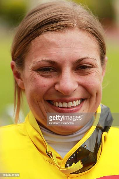 Jockey Lauren Stojakovic smiles after riding Miracles of Life to victory in race four the Patinack Farm Blue Diamond Preview during Australia Day...