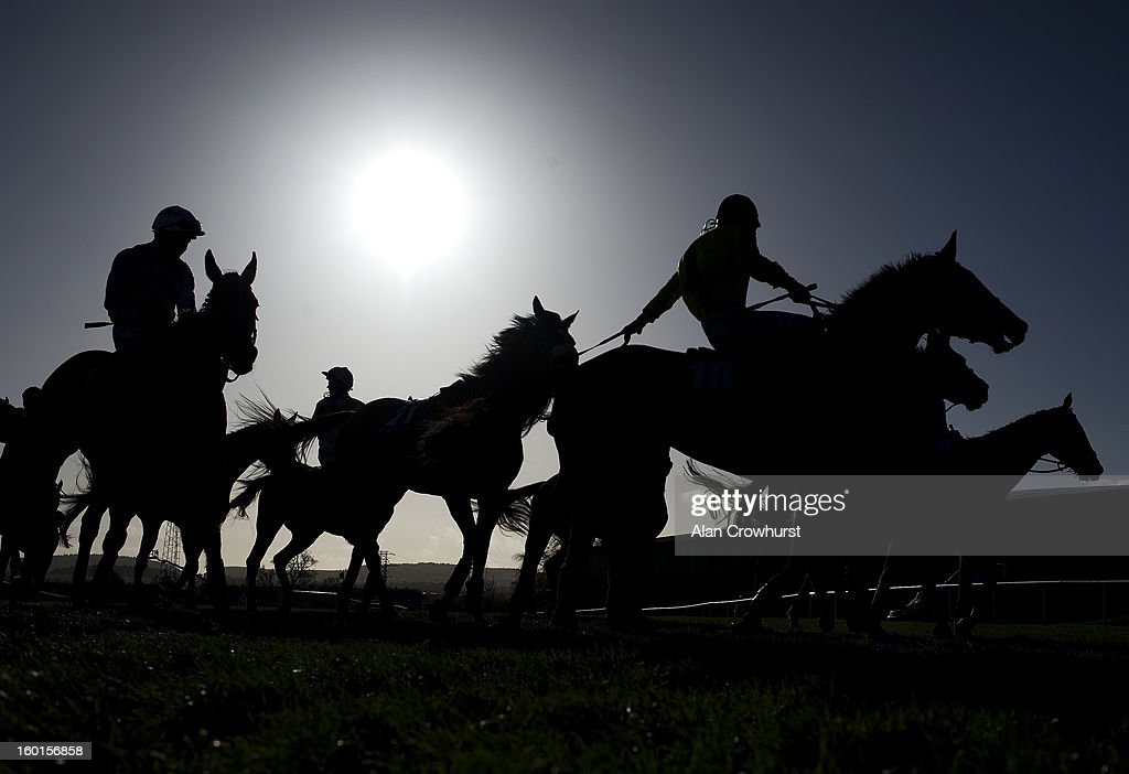 A jockey leads back an unseated runner after finishing at Leopardstown racecourse on January 27, 2013 in Dublin, Ireland.
