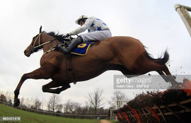 Jockey Lee Vickers on Galley Slave jumps the last in the North Norfolk Harriers Maiden Hurdle