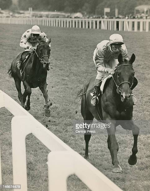 Jockey Lester Piggott on Fighting Charlie passing Yves SaintMartin on Waldmeister to win the Gold Cup at Ascot 17th June 1965