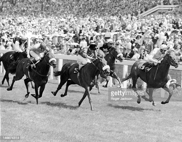 Jockey Lester Piggott rides Gay Fandango to victory in the Jersey Stakes at Royal Ascot 18th June 1975 Second is Joe Mercer on Joking Apart and third...