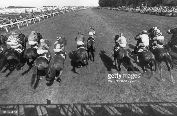 Jockey Lester Piggott riding The Minstrel at the start of the Epsom Derby, 1st June 1977.
