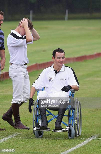 Jockey Liam Treadwell sits in a wheel chair at the Rundle Cup at Tidworth Polo Club on July 11 2009 in Wiltshire England