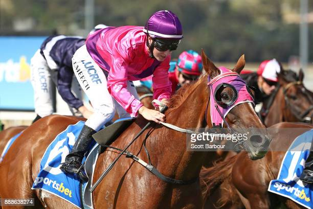 Jockey Linda Meech rides Like a Carousel to win race 7 the Sportsbet Pakenham Cup during Melbourne Racing at Racingcom Park on December 9 2017 in...