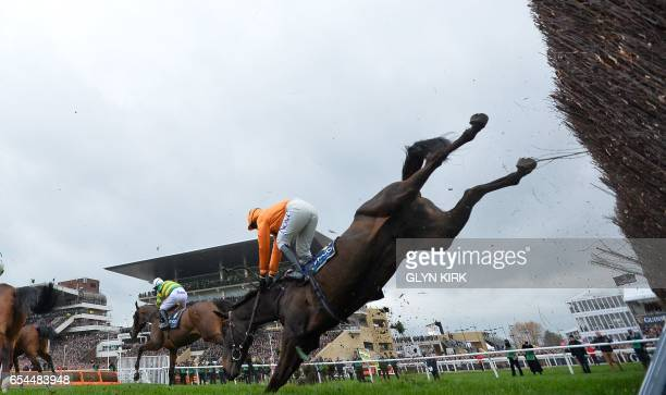 TOPSHOT Jockey Lizzie Kelly falls from her horse during the Gold Cup race on the final day of the Cheltenham Festival horse racing meeting at...