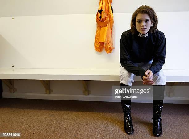 Jockey Lizzie Kelly poses at Sandown racecourse on January 02 2016 in Esher England