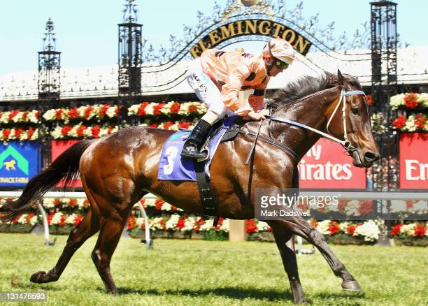 Jockey Luke Nolen riding Black Caviar wins Race 5 the Patinack Farm Classic during Emirates Stakes Day at Flemington Racecourse on November 5 2011 in...