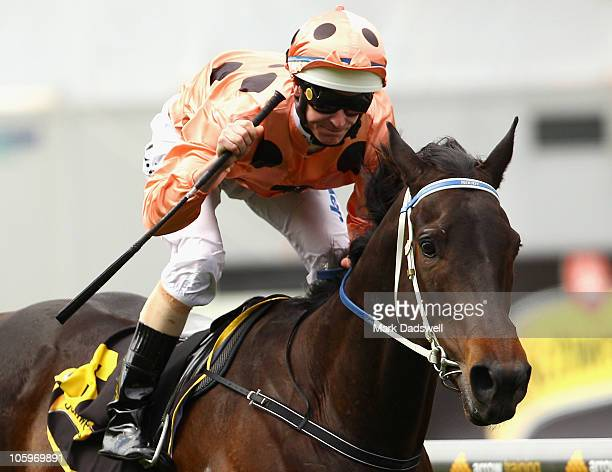 Jockey Luke Nolen riding Black Caviar wins Race Five the Schweppes Stakes during Cox Plate Day at Moonee Valley Racecourse on October 23 2010 in...