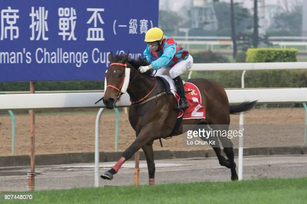 Jockey Manoel Nunes riding Pearl Green wins Race 5 Macau Derby Trial during Macau Hong Kong Trophy Day at Taipa Racecourse on March 4 2018 in Macau...