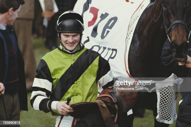 Jockey Mark Dwyer pictured in the winners enclosure after riding Jodami to finsh in first place to win the 1993 Cheltenham Gold Cup at the National...