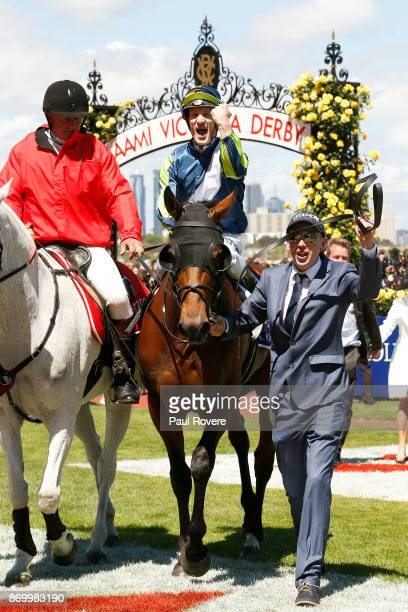 Jockey Mark Zahra returns to scale on Merchant Navy after winning race 5 the Coolmore Stud Stakes on Derby Day at Flemington Racecourse on November 4...