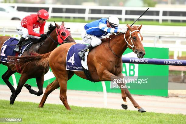 Jockey Mark Zahra rides Gytrash to win race 7 the Black Caviar Lightning during Melbourne Racing at Flemington Racecourse on February 15 2020 in...