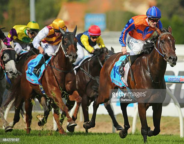 Jockey Mark Zahra riding Tried And Tired wins race 3 the Echucamoamacom Handicap during 7Eleven Pink Ribbon Cup Day at Caulfield Racecourse on April...