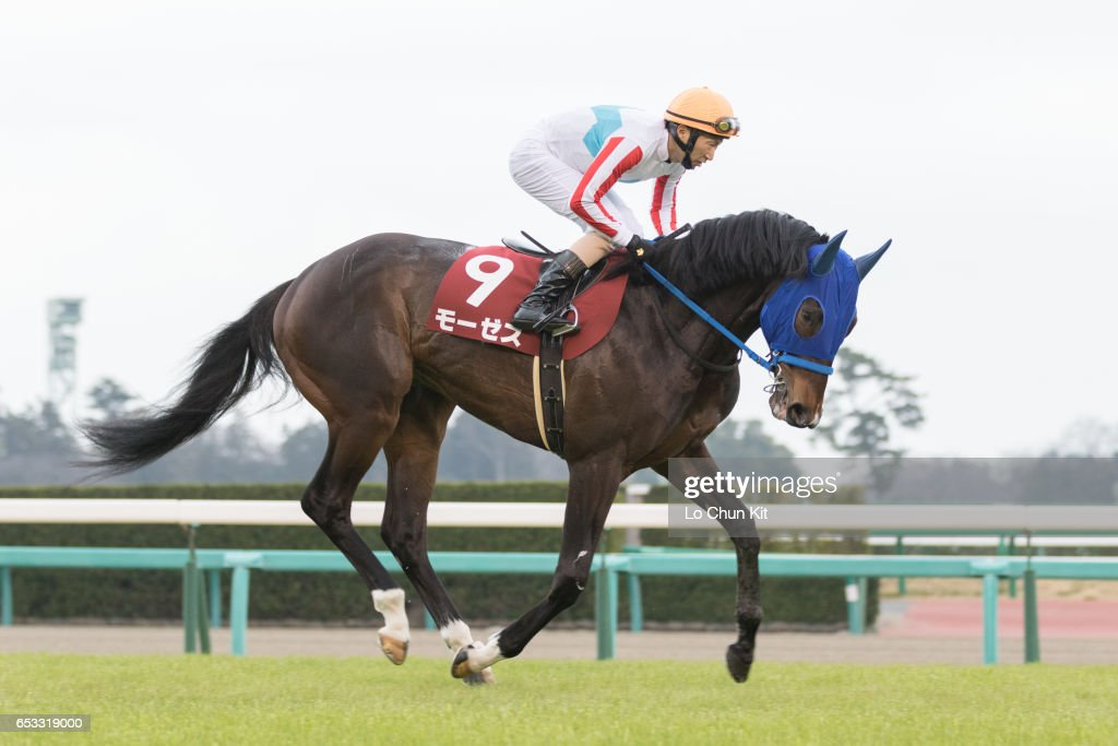 Jockey Masayoshi Ebina riding Moses during the Race 11 Yayoi Sho - Japanese 2000 Guineas Trial (G2 2000m) at Nakayama Racecourse on March 6, 2016 in Funabashi, Chiba, Japan.