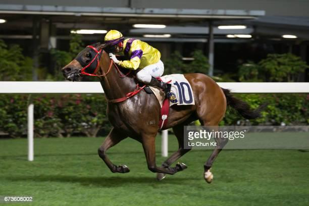 Jockey Matthew Chadwick riding King Bountiful wins the Race 2 Daejeon Handicap at Happy Valley Racecourse on April 26, 2017 in Hong Kong, Hong Kong.