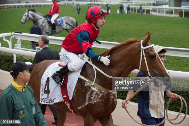 KONG FEBRUARY Jockey Matthew Chadwick riding The Golden Age finished 3rd during Race 9 The Hong Kong Classic Cup at Sha Tin racecourse on February 18...