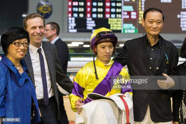 Jockey Matthew Chadwick, trainer John Size and owners celebrate after King Bountiful wins the Race 2 Daejeon Handicap at Happy Valley Racecourse on...