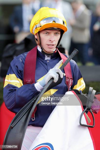 Jockey Michael Dee after riding Tofane to win Race 4 PFD Food Services Handicap during Melbourne Racing at Moonee Valley Racecourse on September 07...