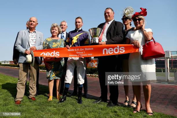 Jockey Michael Dee and Trainer Michael Moroney pose after Alabama Express wins race 8 the Neds CF Orr Stakes during Melbourne Racing at Caulfield...