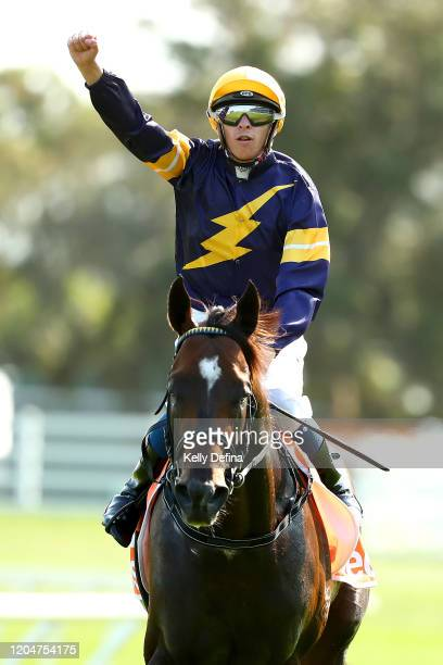 Jockey Michael Dee returns to scale after riding Alabama Express to win race 8 the Neds CF Orr Stakes during Melbourne Racing at Caulfield Racecourse...