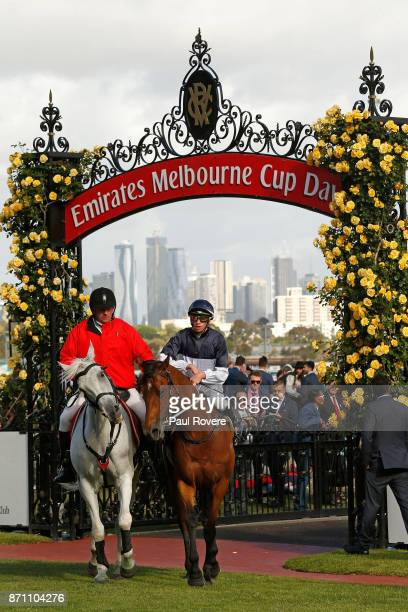 Jockey Michael Dee returns to scale on Pedrena after winning race 10 the Hong Kong Jockey Club Stakes during Melbourne Cup Day at Flemington...