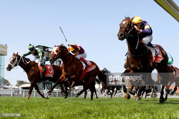 Jockey Michael Dee rides Alabama Express to win race 8 the Neds CF Orr Stakes during Melbourne Racing at Caulfield Racecourse on February 08 2020 in...