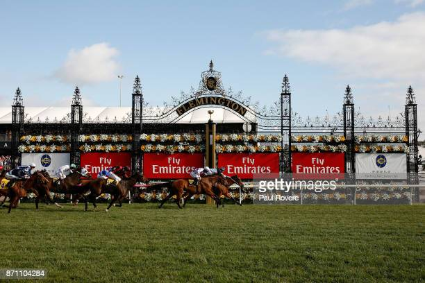 Jockey Michael Dee rides Pedrena to win race 10, the Hong Kong Jockey Club Stakes, during Melbourne Cup Day at Flemington Racecourse on November 7,...