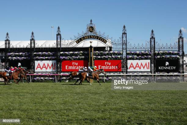 Jockey Michael Dee rides Shillelagh to win race 8 the Kennedy Mile on Derby Day at Flemington Racecourse on November 4 2017 in Melbourne Australia