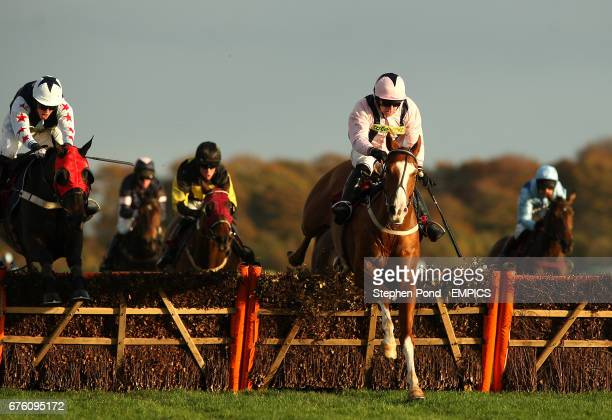 Jockey Michael O'Connell riding Presque Perdre jumps the last fence to win The Subscribe On Line At racingukcom Handicap Hurdle Race at Haydock Park...