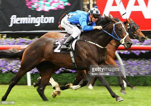 Jockey Michael Rodd riding Dr Doute's wins Race 2 the Carbine Club Stakes during the 2008 Victoria Derby Day meeting at Flemington Racecourse on...