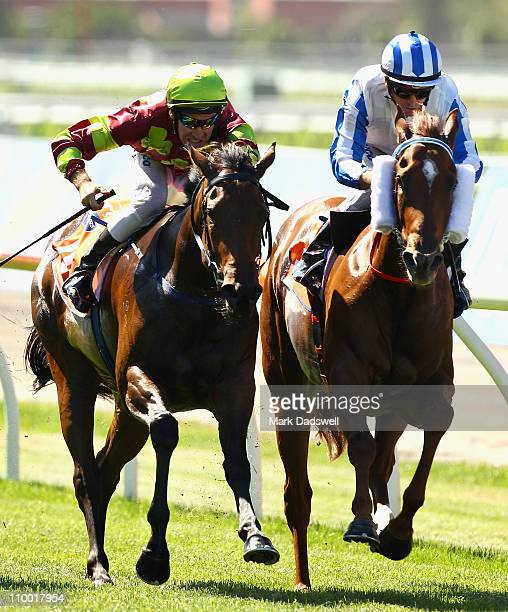 Jockey Michael Rodd riding Triple Asset wins Race One the TBV Thoroughbred Breeders Stakes from Glyn Schofield on Metonymy during Super Saturday at...