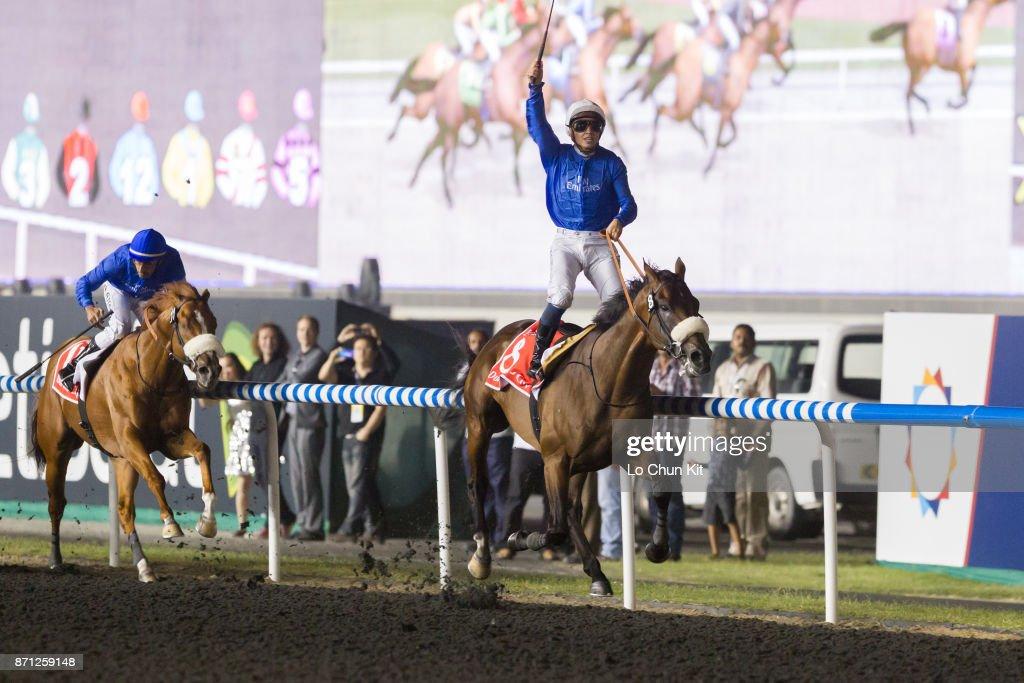 Jockey Mickael Barzalona riding Monterosso wins Dubai World Cup at the Meydan racecourse on March 31, 2012 in Dubai, United Arab Emirates.