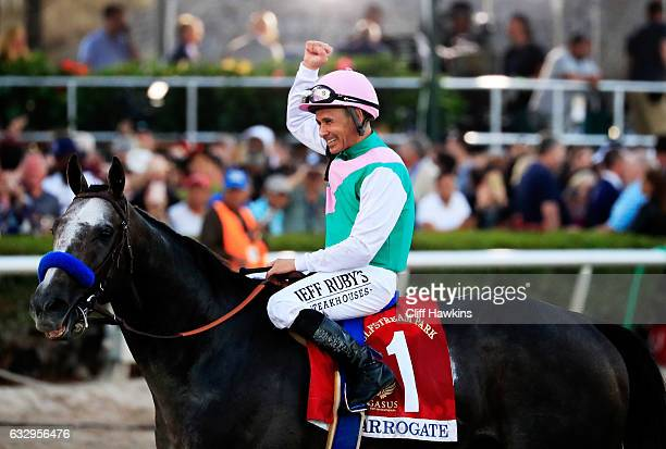 Jockey Mike Smith celebrates atop Arrogate after winning the $12 Million Pegasus World Cup Invitational at Gulfstream Park on January 28 2017 in...