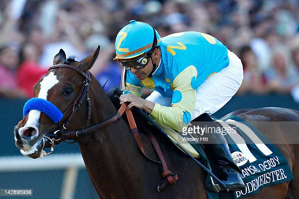 Jockey Mike Smith rides Bodemeister to win the Arkansas Derby at Oaklawn Park during the Racing Festival of The South on April 14 2012 in Hot Springs...