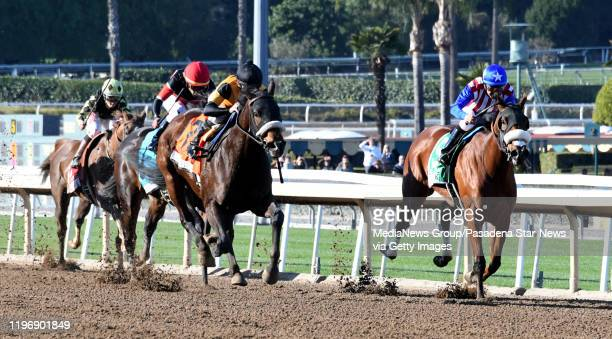Jockey Mike Smith riding Hard Not To Love wins the La Brea Stakes during opening day horse racing at Santa Anita Park on Saturday December 28 2019 in...