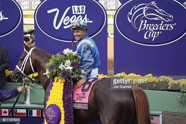 Jockey Mike Smith riding Tamarkuz in the winner's circle after winning in the Las Vegas Breeder's Cup Dirt Mile during day one of the 2016 Breeders'...