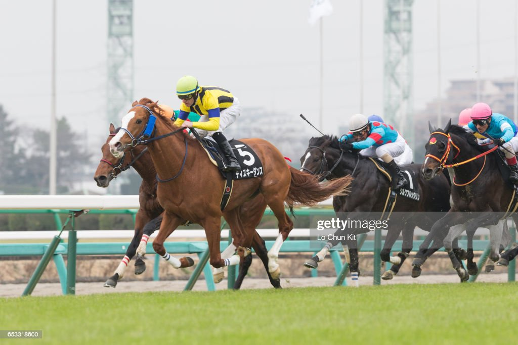 Jockey Mirco Demuro riding Diski Dance wins the Race 9 at Nakayama Racecourse on March 6, 2016 in Funabashi, Chiba, Japan.