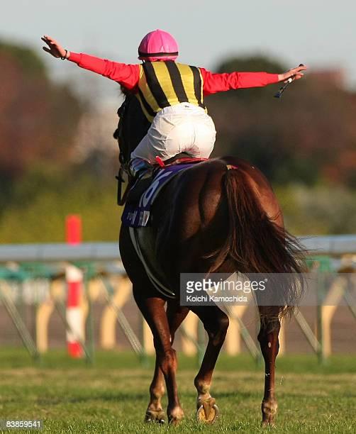 Jockey Mirco Demuro riding Screen Hero celebrates after winning the Japan Cup 2008 at Tokyo Racecourse on November 30, 2008 in Tokyo, Japan.