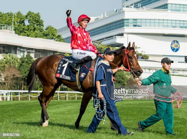 Jockey Nash Rawiller riding Mr Stunning wins in the Longines Hong Kong Sprint during the Longines Hong Kong International Races at Sha Tin Racecourse...