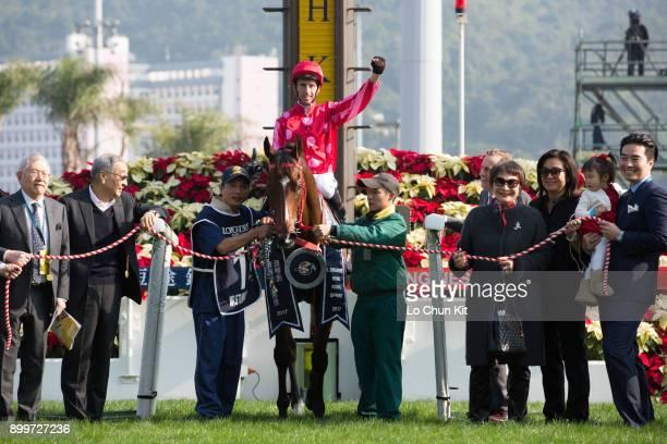 Jockey Nash Rawiller riding Mr Stunning wins the LONGINES Hong Kong Sprint at the Sha Tin Racecourse during the LONGINES Hong Kong International...