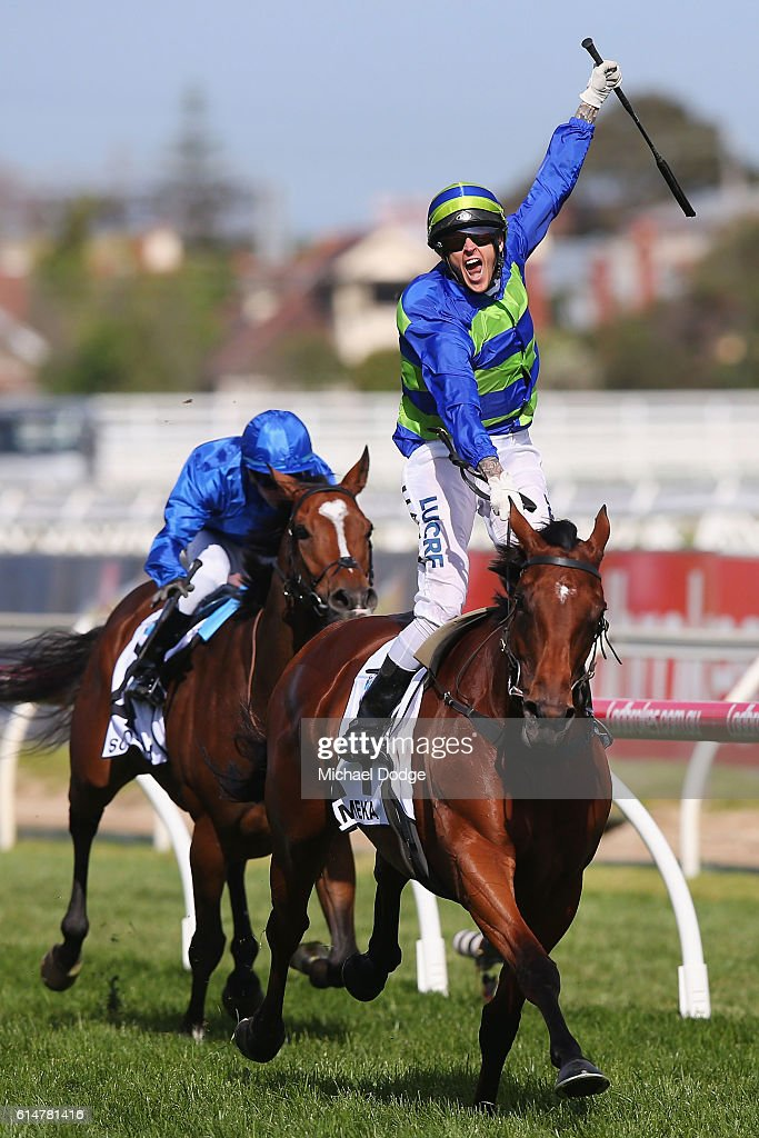 Jockey Nicholas Hall riding Jameka wins race 8 the BMW Cup during Caulfield Cup Day at Caulfield Racecourse on October 15, 2016 in Melbourne, Australia.