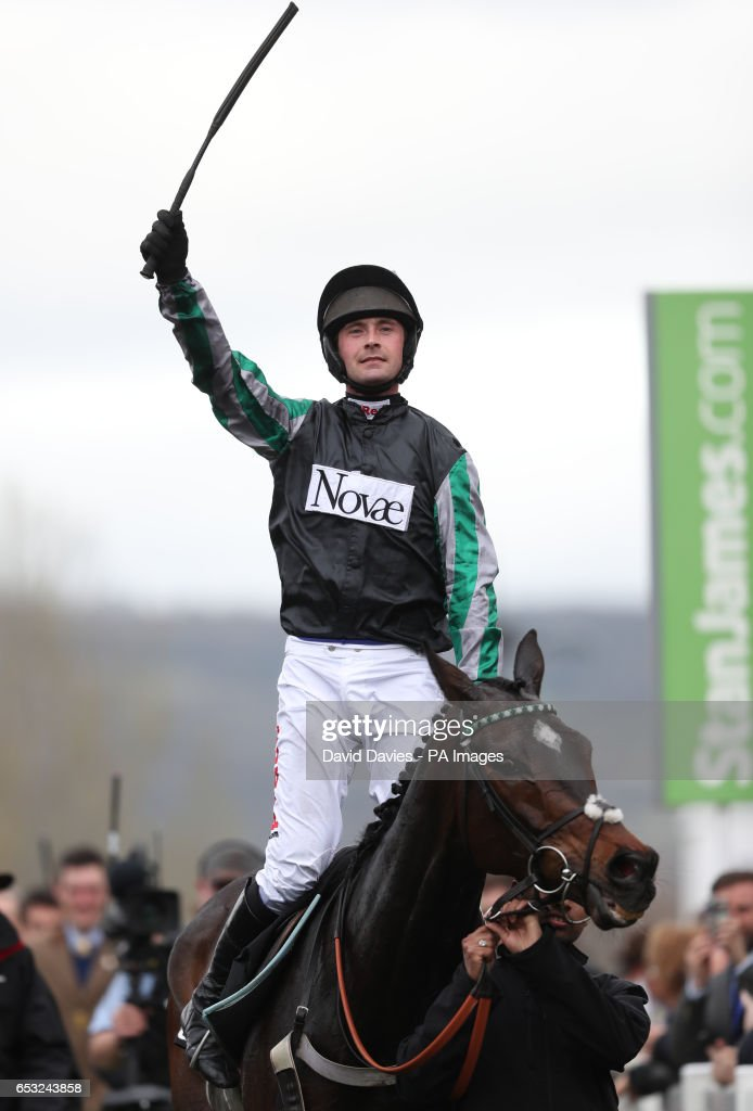 Jockey Nico De Boinville on board Altior celebrates winning the 14:10 Racing Post Arkle Challenge Trophy Novices' Chase during Champion Day of the 2017 Cheltenham Festival at Cheltenham Racecourse.