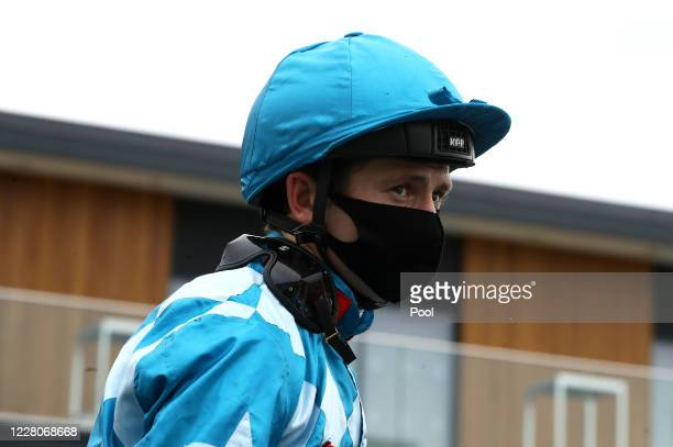 Jockey Oisin Murphy looks on after winning the Unibet St Hugh's Fillies' Stakes race with Zoetic at Newbury Racecourse on August 16 2020 in Newbury...