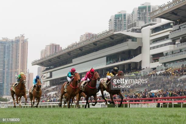Jockey Olivier Doleuze riding D B Pin wins Race 7 The Centenary Sprint Cup at Sha Tin racecourse on January 28 2018 in Hong Kong Hong Kong Mr...
