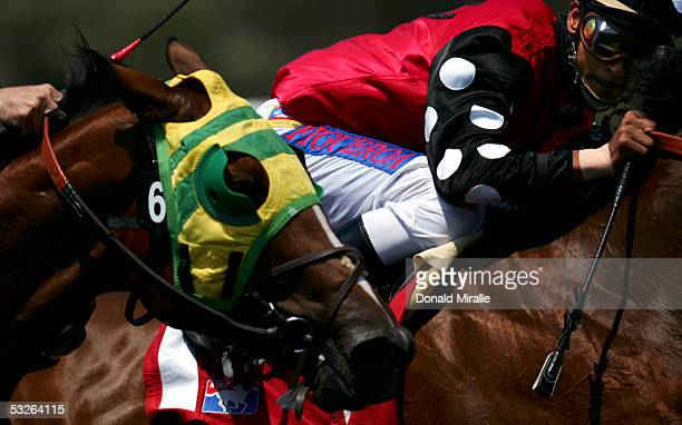 Jockey Omar Figueroa on Victoria Fly looks over at Rude Behavior with jockey Rene R Douglas coming out of turn four into the front stretch during...