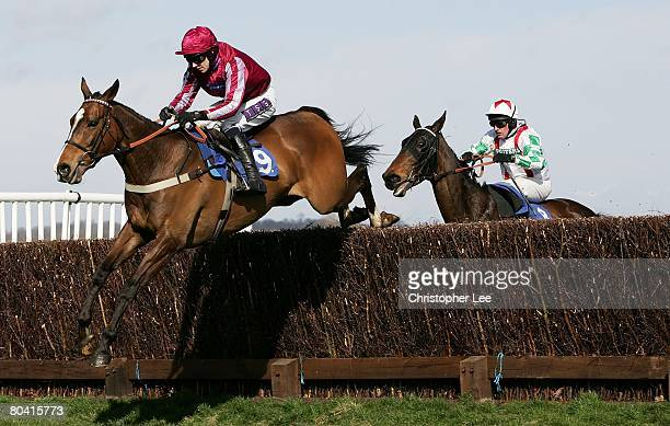 Jockey P J Brennan riding Island Flyer ljumps the final hurdle in the lead to win The Montpelier Re Novices Handicap Steeple Chase at Newbury...
