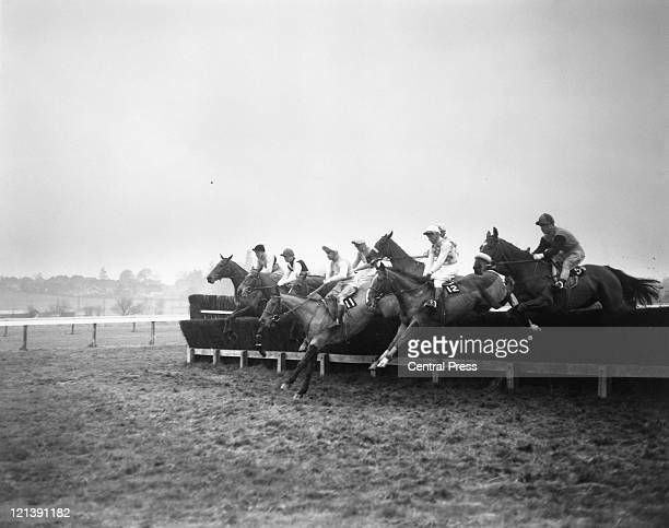 Jockey Pat Taaffe on Arkle takes the first fence of the Hennessy Gold Cup at Newbury Racecourse Berkshire 5th December 1964 Arkle won by ten lengths...